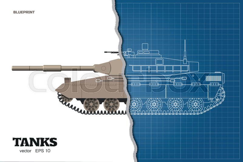 ac2e85060a042 Blueprint of realistic tank. Top