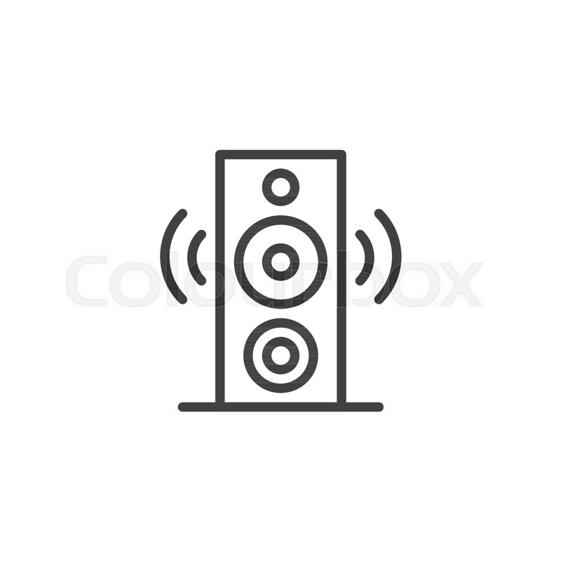 Speaker line icon, outline vector sign, linear style pictogram ...