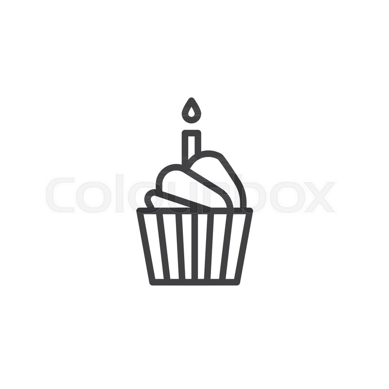 Birthday Cake Line Icon Outline Stock Vector Colourbox