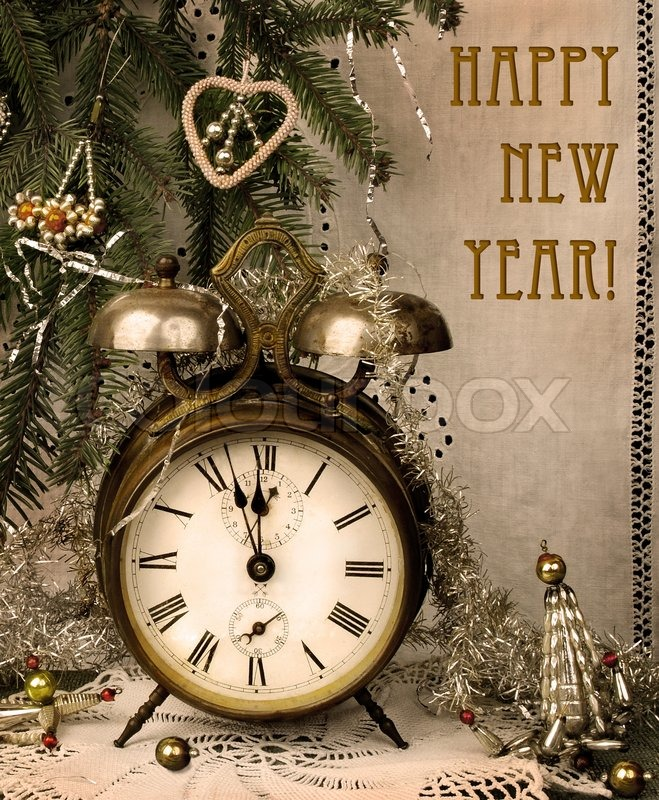 Vintage New Year With Antique Alarm Clock Stock Photo
