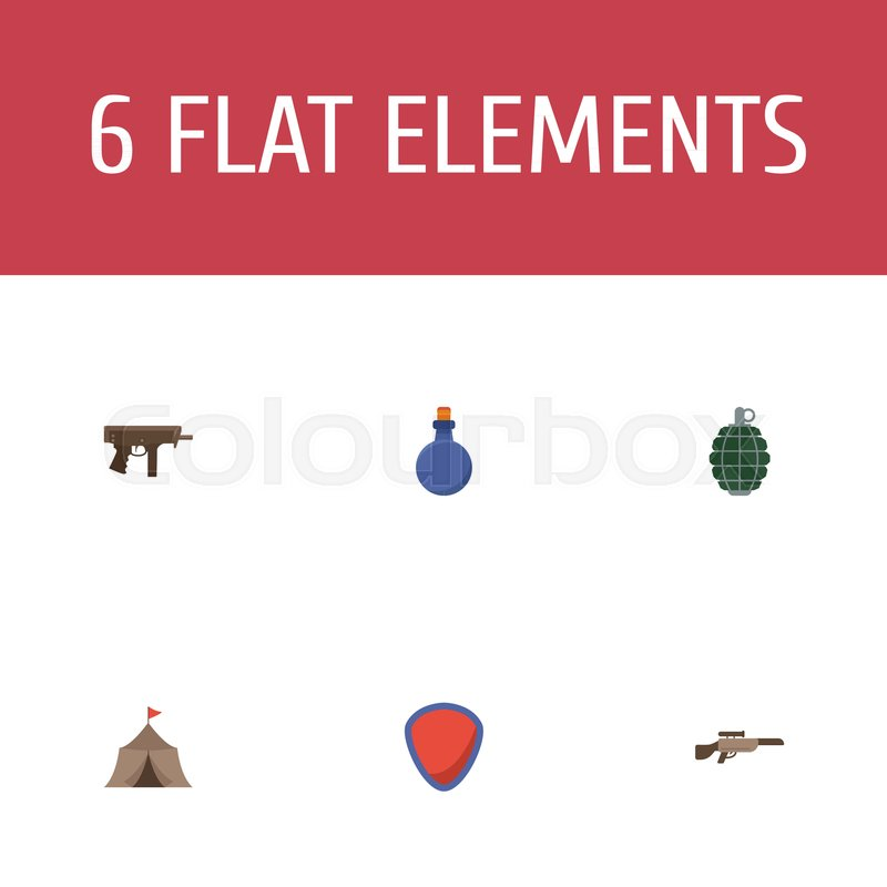 Flat Icons Flask Tent Gun And Other Vector Elements Set Of Game