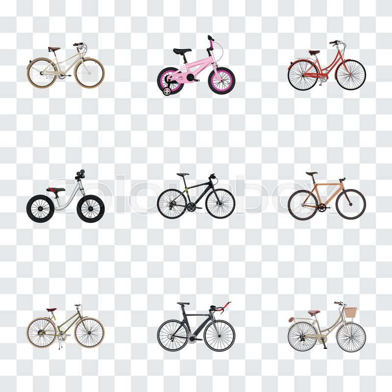 Realistic Old Retro Brand Vector Elements Set Of Bike Realistic