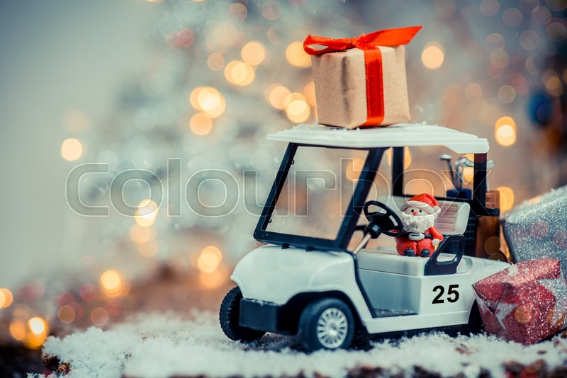 christmas decoration with golf car on december stock photo colourbox