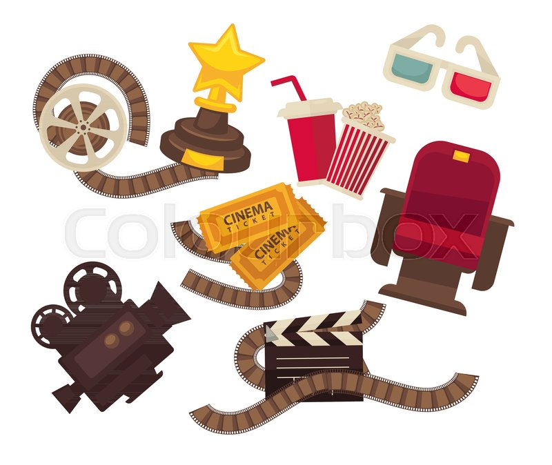 Retro Cinema Movie Theater Flat Icons Stock Vector Colourbox