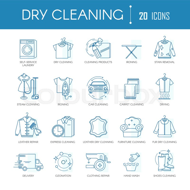 Dry Cleaning Or Laundry Service Line Icons Templates For Different