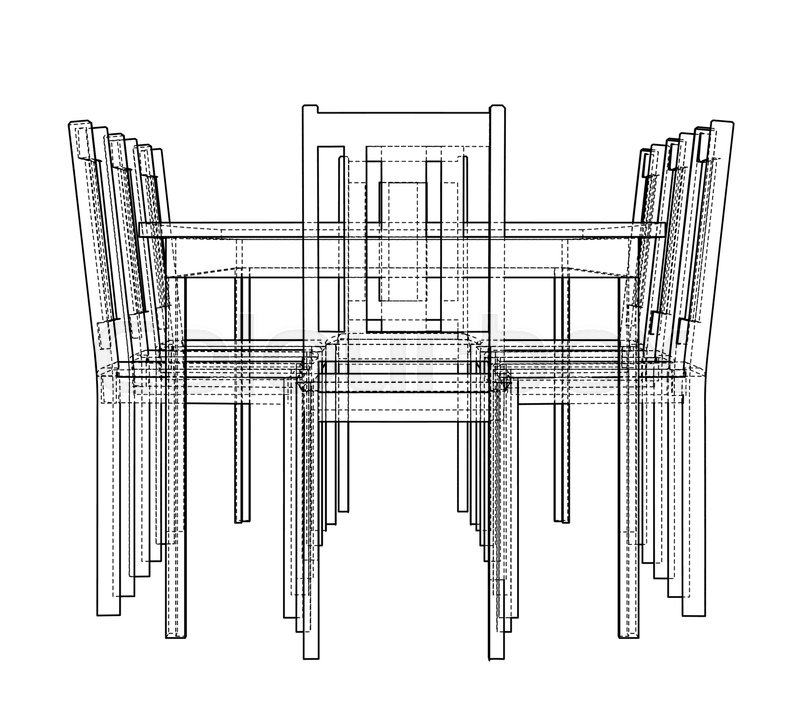 Table with chairs for 8 people  Vector     | Stock vector | Colourbox