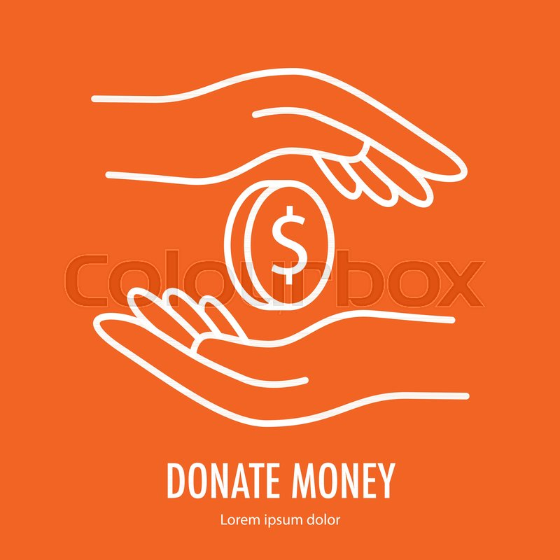 Coin Between Two Hands Symbol Line Icon Logo Template For Charity
