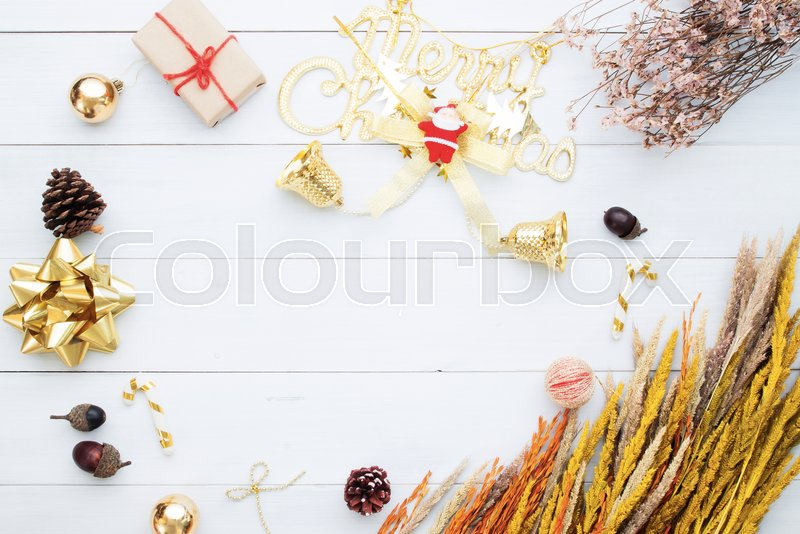 Christmas background, ornaments gift boxes art object isolated on white wooden background, Composition for card, stock photo