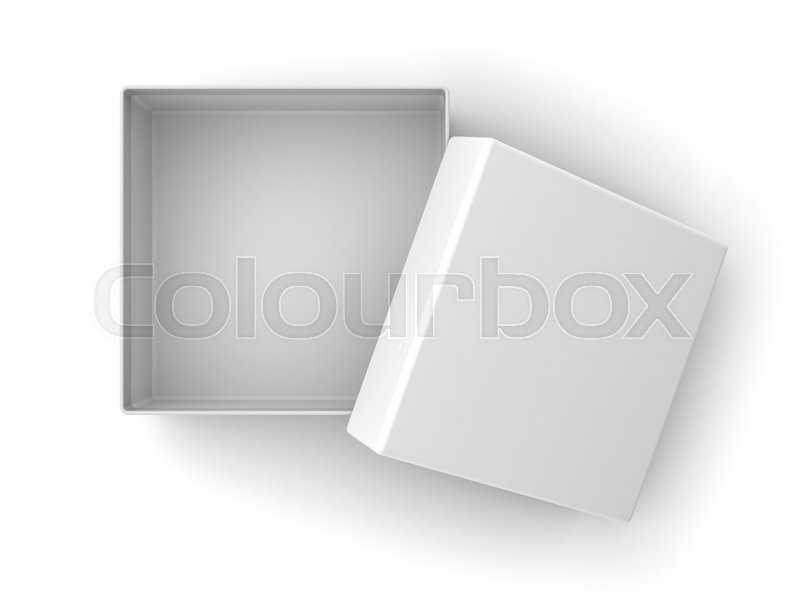 cd714368002 Blank Cardboard box open with cover lid isolated on white ...