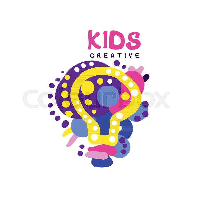 Kids Creative Colorful Logo Labels Stock Vector Colourbox
