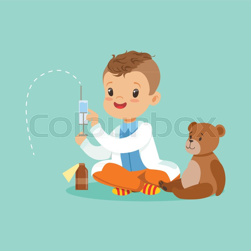 Adorable Baby Boy Dressed As A Doctor Playing With Teddy Bear Toy Kid Preparing Syringe For His Sick Patient Vector Illustration Isolated On Blue