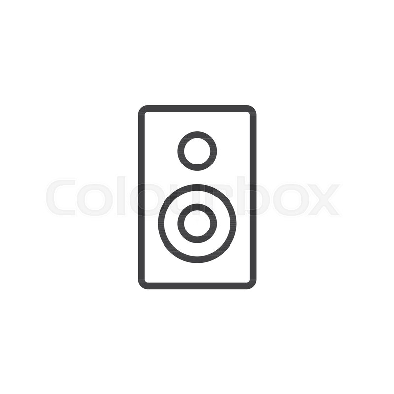Audio speaker line icon, outline vector sign, linear style pictogram ...