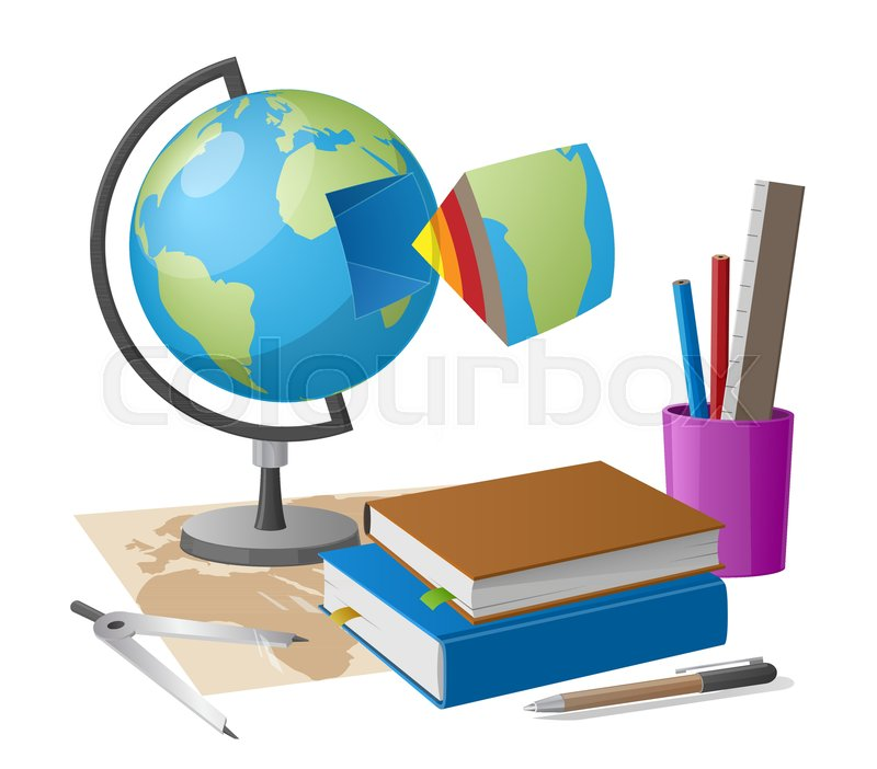 Geography lesson related elements as cartoon style globe graphite geography lesson related elements as cartoon style globe graphite pencil and compass on world map along with cup of stationary elements stock vector sciox Images