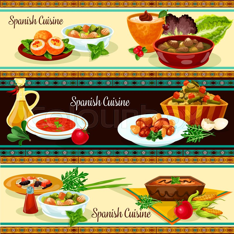 Spanish Food Restaurant Banner With Stock Vector Colourbox