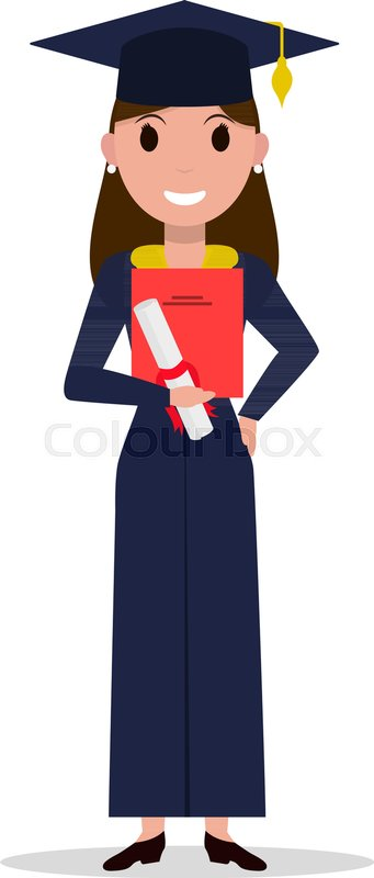 vector cartoon student girl graduate isolated white Graduation Cap 2018 Clip Art Free Free Graduation Clip Art