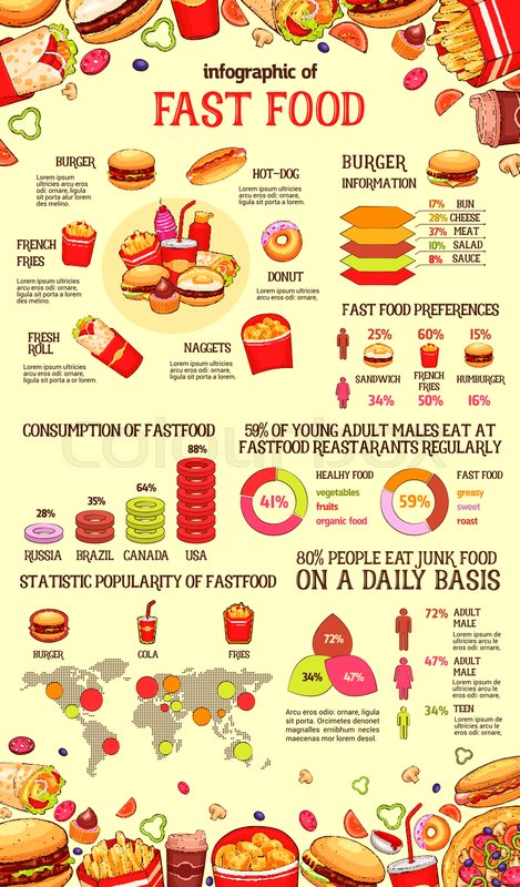 Fast food infographic of burger    Stock Vector   Colourbox