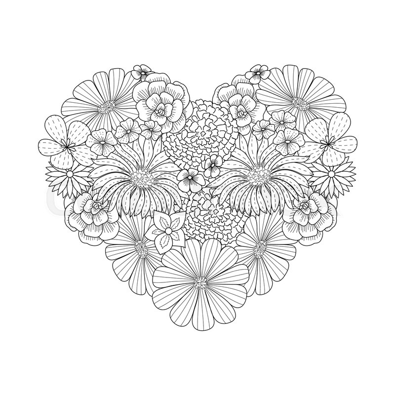 Floral Heart Shape Doodle Style Coloring Book Page Ornate Black Line Cute Valentine Day Background With Flower