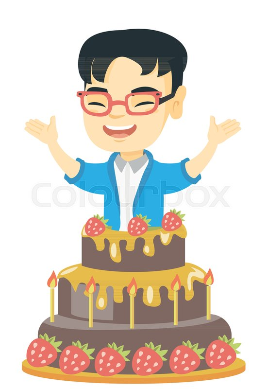 Little Asian Boy Jumping Out Of A Large Cake Full Length Of