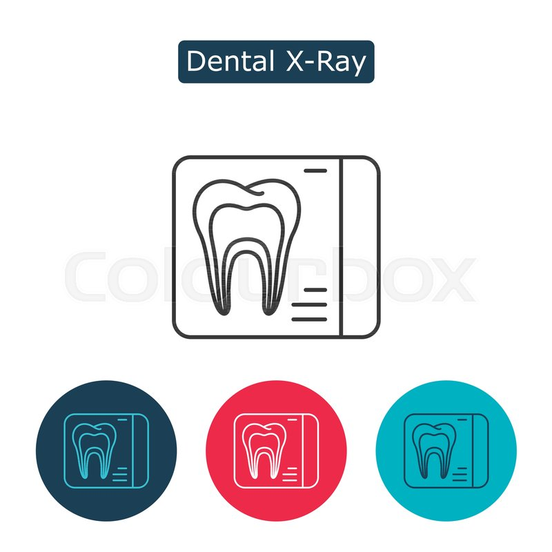 Dental X Ray Vector Line Icon Isolated On White Background
