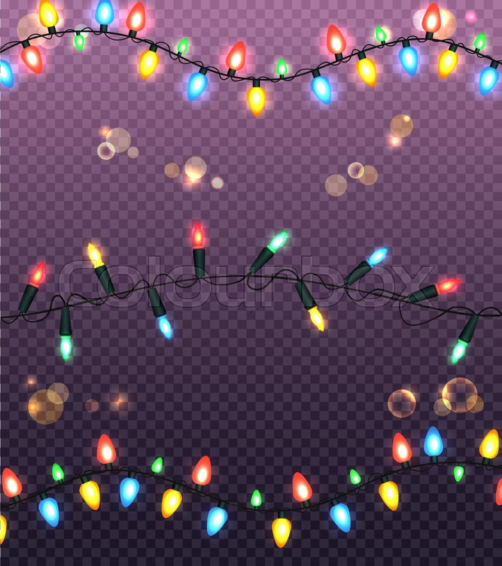 strings of colourful christmas lights vector illustration of black wire and various types of glowing bulbs on seamless square purple pattern stock vector