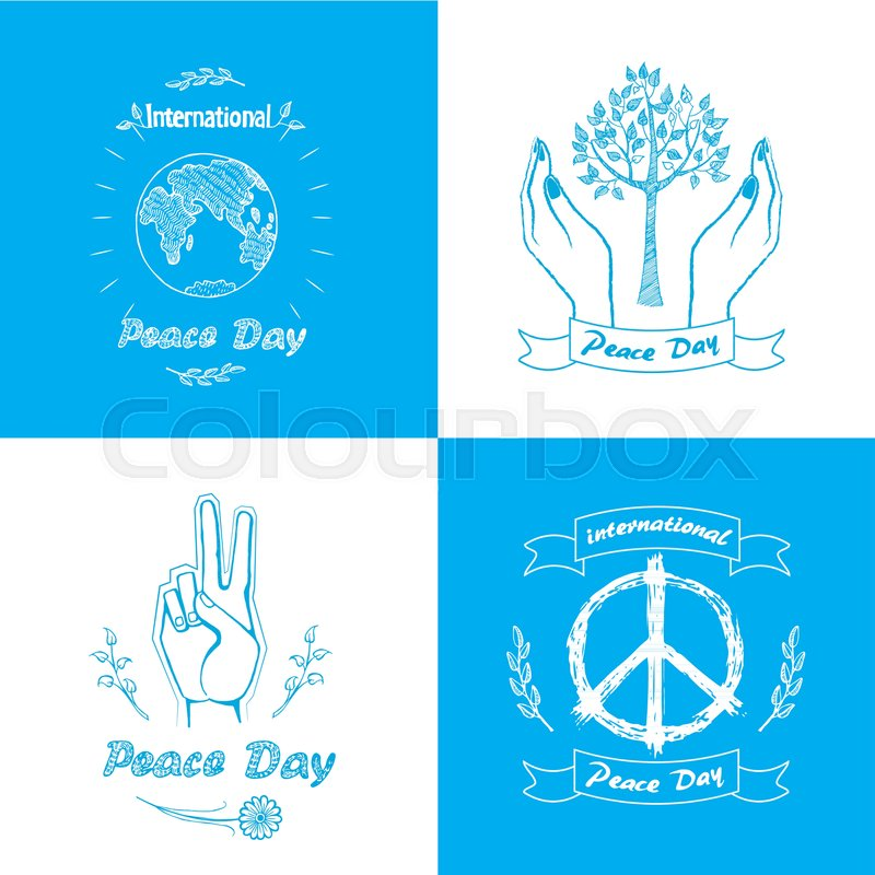 Posters For International Peace Day Vector Illustration Includes
