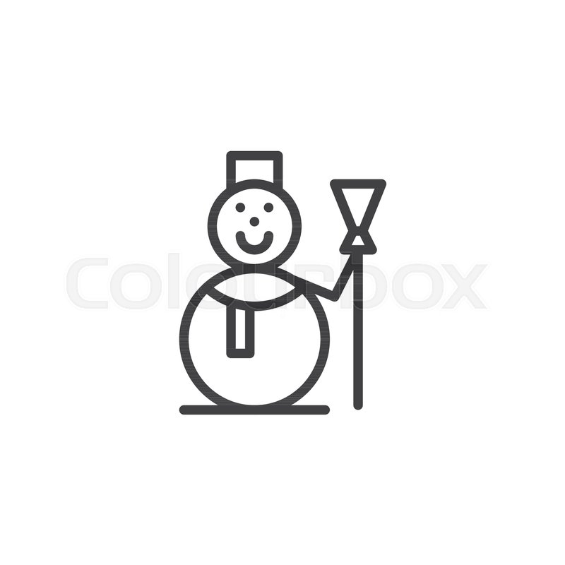 Snowman With Scarf And Broom Line Icon Outline Vector Sign Linear