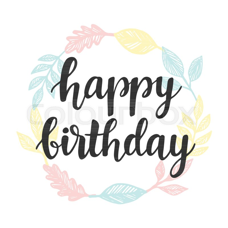 Happy Birthday Greeting Card Design Template With Cute Wreath