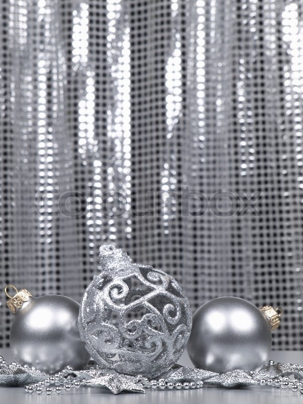 christmas decorations ball on a silver background stock photo colourbox - Silver Christmas Decorations