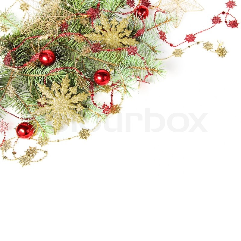 Christmas Decorations Border With Snowflakes Over White | Stock Photo |  Colourbox