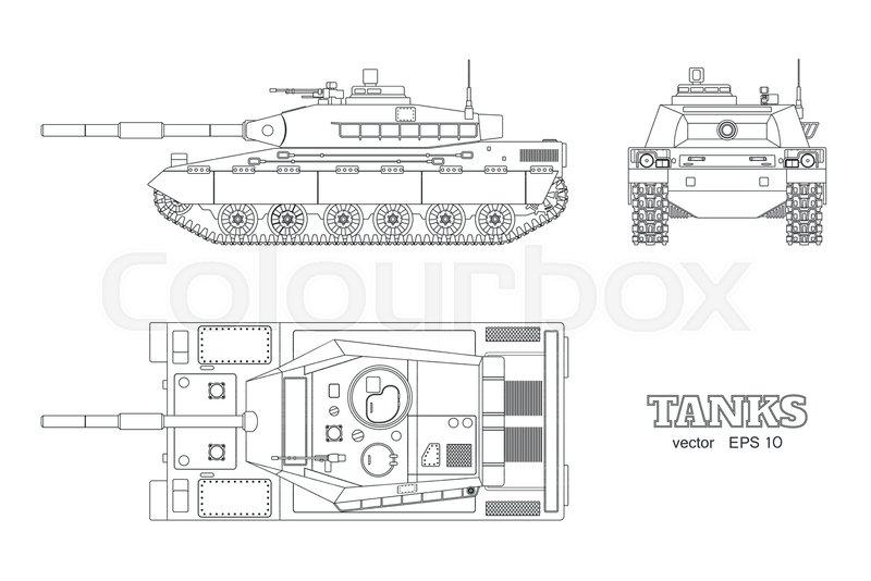 3fd39a7e53b49 Realistic tank blueprint. Outline ...
