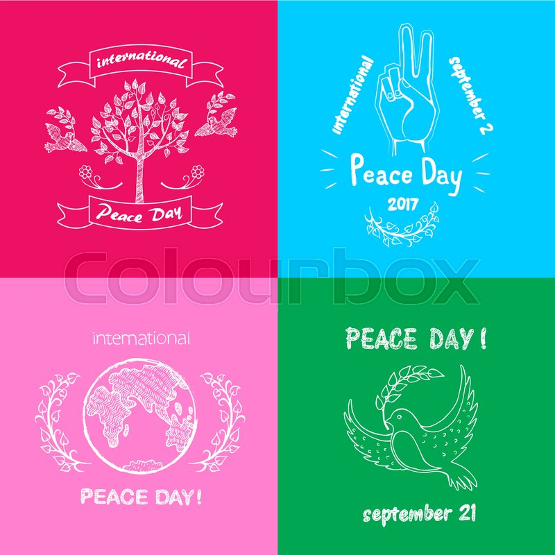 Bright Posters For International Peace Day Vector Illustration