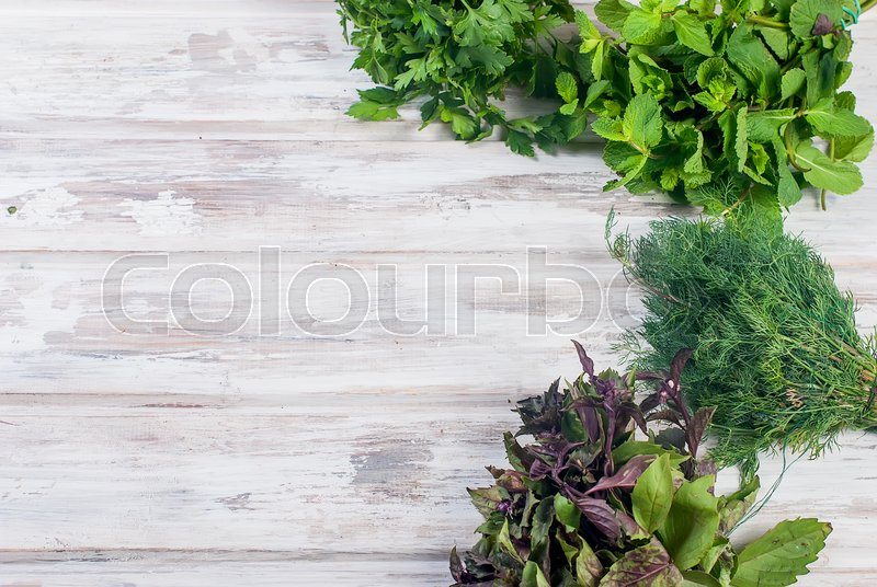 Organic fresh spicy herbs mint sprigs of basil dill parsley on the white old wooden table - Tips planting herbs lovage parsley dill ...