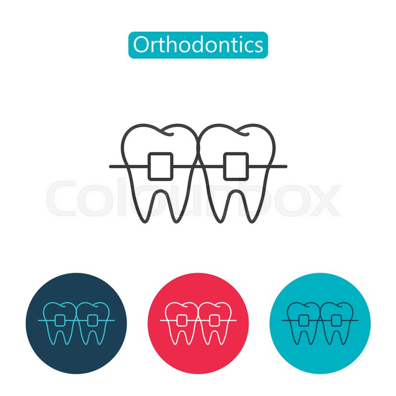 Teeth with braces image isolated on white background orthodontic stock vector of teeth with braces image isolated on white background orthodontic braces thin ccuart Choice Image