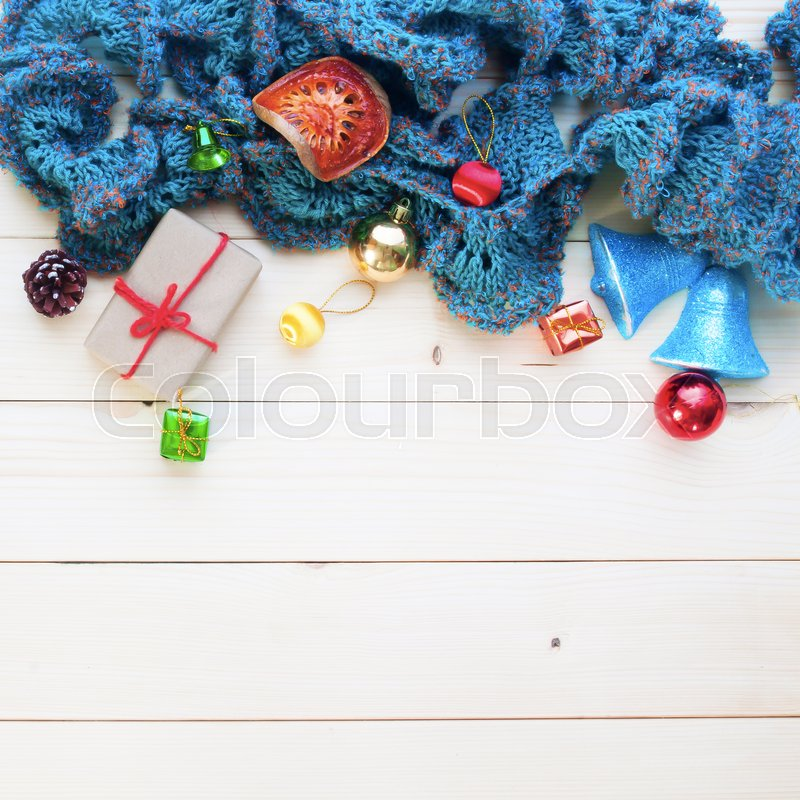 Christmas background, ornaments gift boxes art object on wooden background, Composition for card, stock photo