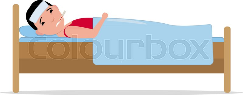 Vector illustration cartoon ill man lying in bed with influenza vector illustration cartoon ill man lying in bed with influenza isolated white background boy patient with a thermometer sick flu flat design altavistaventures Images
