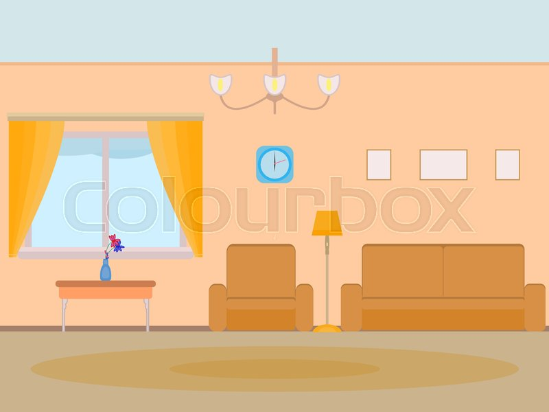 Home Interior Apartment Room. Flat Stile. To Live In Hall With A Window  Sofa Armchair Carpet Clock. Home Furnishings. Elements For Design. | Stock  Vector | ...