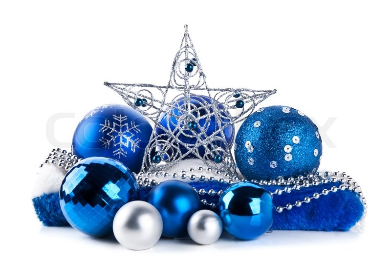 Composition of the blue christmas balls and star isolated on a ...