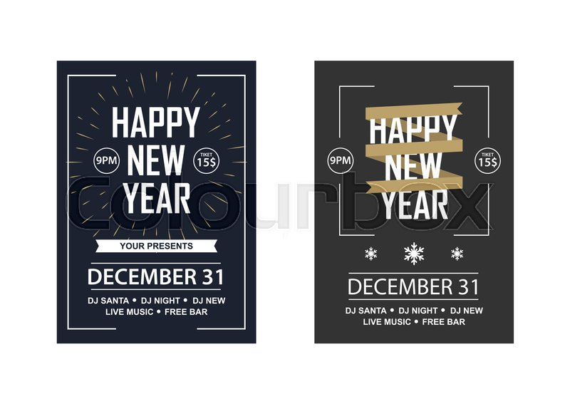 two new year invitations to a club party vector illustration in a flat style stock vector colourbox