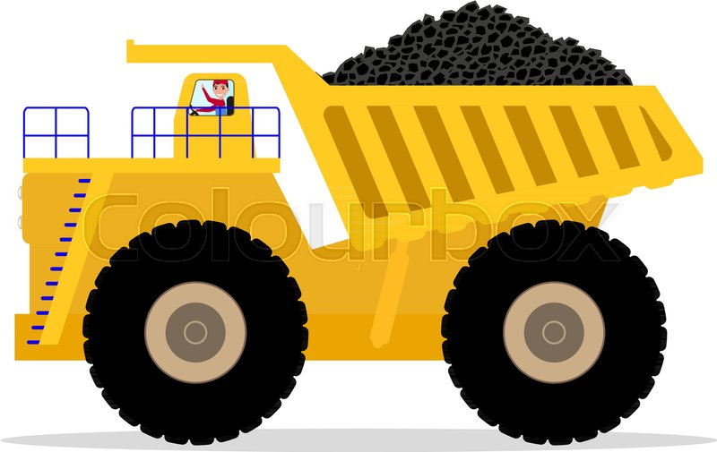 Vector Illustration Cartoon Dump Truck Stock Vector