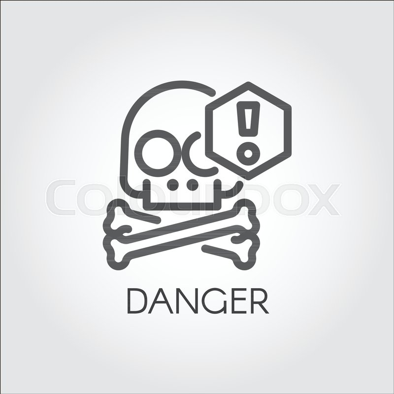 Skull With Crossbones Warning Icon Drawn In Linear Style Label Of