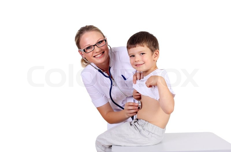 Stock image of 'Young female doctor doing medical examination to a child'