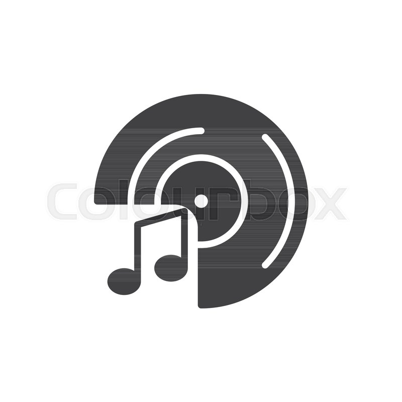 vinyl record and music notes icon vector filled flat sign solid rh colourbox com White Music Note Vector Single Music Notes