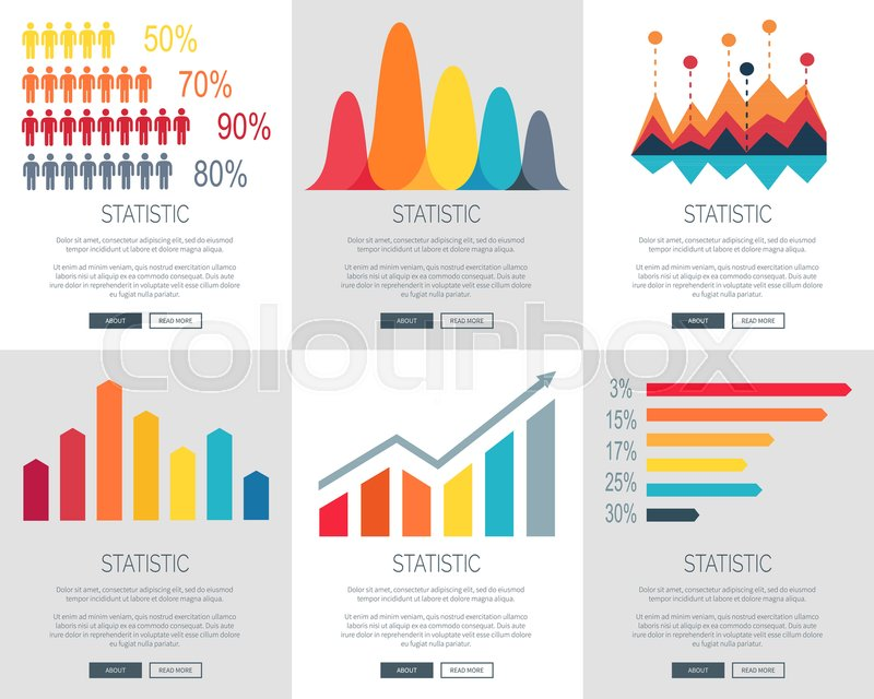 Statistic Illustration Set Of Six Versions Of Web Page Design With  Different Colored Bar Graphs. Vector Illustration Of Statistics With Space  For Text ...