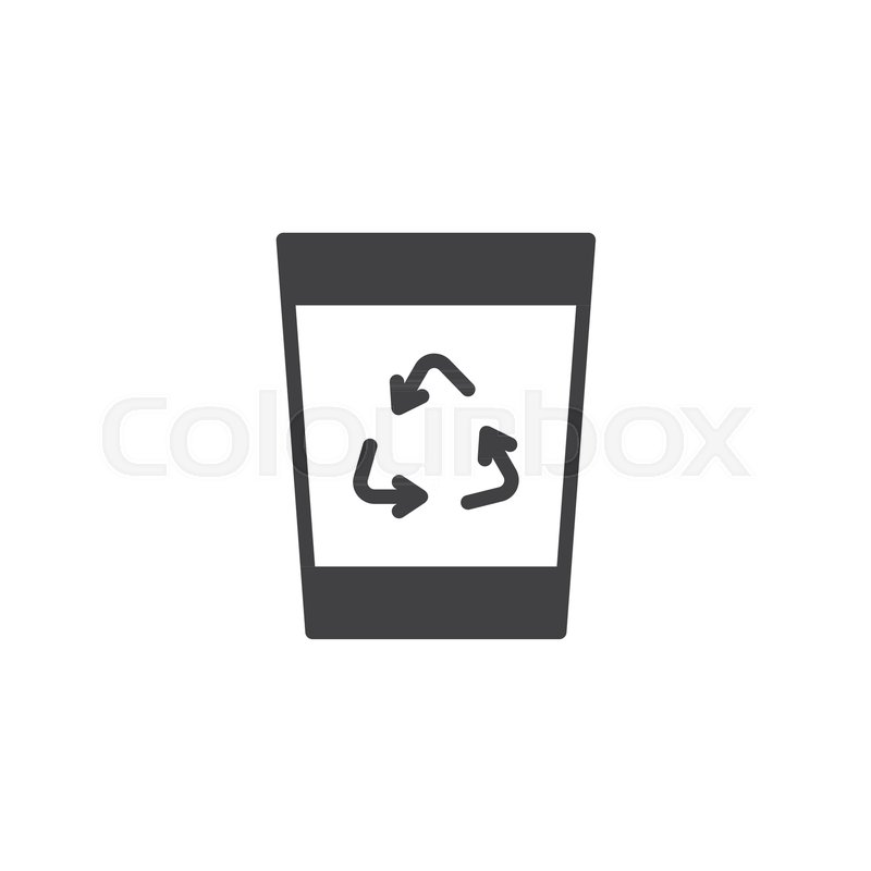 Recycle Bin Icon Vector Filled Flat Sign Solid Pictogram Isolated