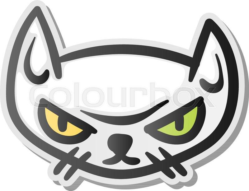 Angry Grumpy Cat Emoji Face Vector Illustration Stock Vector