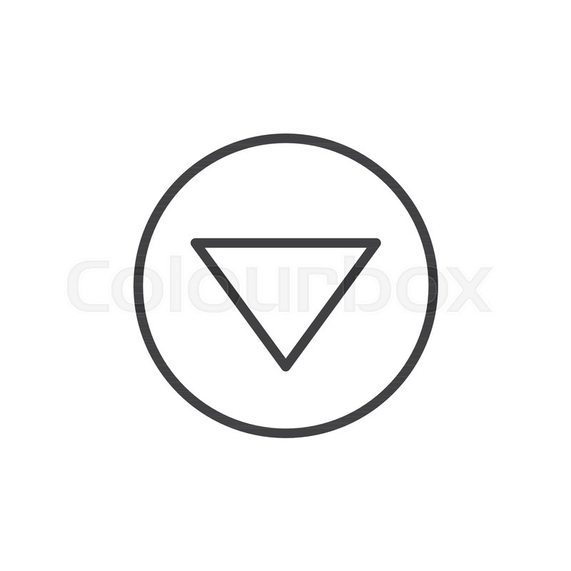 Arrow Triangle Down Line Icon Outline Vector Sign Linear Style