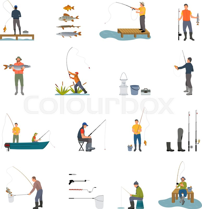 Fishing Activity Of Man Catching Fish Stock Vector Colourbox