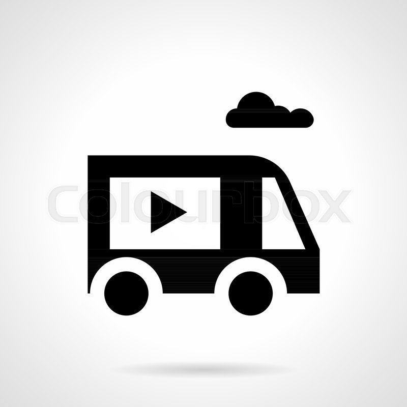 Abstract Monochrome Simple Symbol Of Special Truck For Video Ads