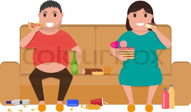 vector illustration cartoon fat man and woman sitting on the couch