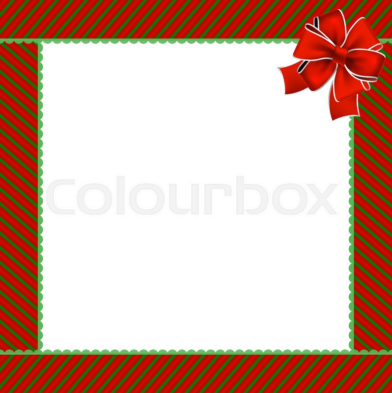 cute christmas or new year frame with green and red diagonal stripes and red festive ribbon in the corner vector illustration template border with space
